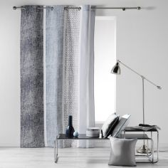 Textilio Stripes 100% Cotton Ready Made Single Eyelet Curtain Panel  - Blue & Charcoal Grey