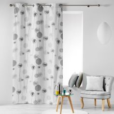 Tina Floral 100% Cotton Ready Made Single Eyelet Curtain Panel  - Charcoal Grey