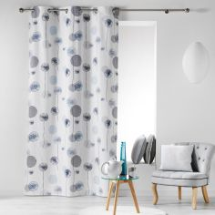 Tina Floral 100% Cotton Ready Made Single Eyelet Curtain Panel  - Navy Blue