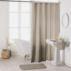 Essencia Plain Shower Curtain Extra Long Drop with Hooks -  Taupe