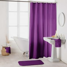 Essencia Plain Shower Curtain Extra Long Drop with Hooks -  Plum Purple