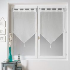 Tina Plain Sheer Pair Of Tassel Voile Blinds With Tab Top - White