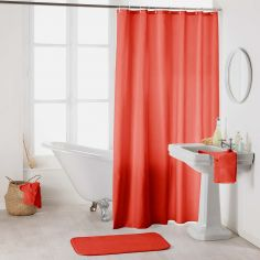 Essencia Plain Shower Curtain Extra Long Drop with Hooks - Coral Orange