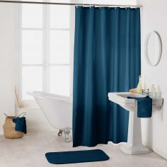 Essencia Plain Shower Curtain Extra Long Drop with Hooks - Night Blue