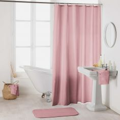 Essencia Plain Shower Curtain Extra Long Drop with Hooks - Candy Pink
