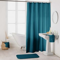 Essencia Plain Shower Curtain Extra Long Drop with Hooks - Petroleum Blue