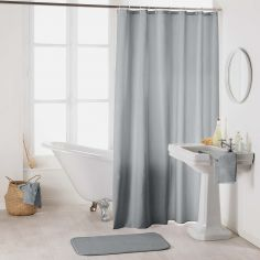 Essencia Plain Shower Curtain Extra Long Drop with Hooks - Silver Grey