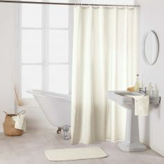 Essencia Plain Shower Curtain Extra Long Drop with Hooks - Cream