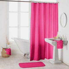 Essencia Plain Shower Curtain Extra Long Drop with Hooks - Fuchsia Pink