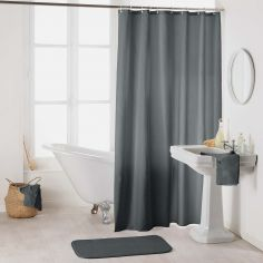 Essencia Plain Shower Curtain Extra Long Drop with Hooks - Charcoal Grey