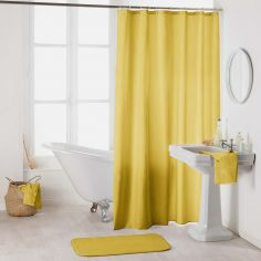 Essencia Plain Shower Curtain Extra Long Drop with Hooks - Honey Yellow