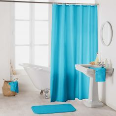 Essencia Plain Shower Curtain Extra Long Drop with Hooks - Turquoise Blue