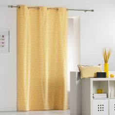 Tunis Geometric 100% Cotton Ready Made Single Eyelet Curtain Panel  - Yellow