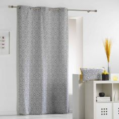 Tunis Geometric 100% Cotton Ready Made Single Eyelet Curtain Panel  - Charcoal Grey