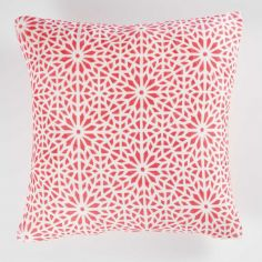 Tunis Geometric Flannel Cushion Cover - Coral Orange