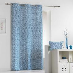Tunis Geometric 100% Cotton Ready Made Single Eyelet Curtain Panel  - Indigo Blue