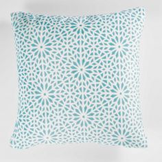 Tunis Geometric Flannel Cushion Cover - Mint Blue