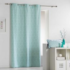 Tunis Geometric 100% Cotton Ready Made Single Eyelet Curtain Panel  - Mint Blue