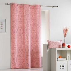 Tunis Geometric 100% Cotton Ready Made Single Eyelet Curtain Panel  - Coral Orange