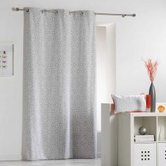 Tunis Geometric 100% Cotton Ready Made Single Eyelet Curtain Panel  - Silver Grey