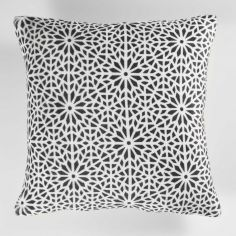 Tunis Geometric Flannel Cushion Cover - Charcoal Grey