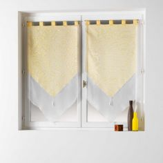 Tunis Pair Of Geometric Double Tassel Voile Blinds With  Tab Top - Yellow