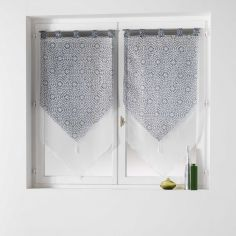 Tunis Pair Of Geometric Double Tassel Voile Blinds With  Tab Top - Charcoal Grey