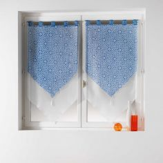 Tunis Pair Of Geometric Double Tassel Voile Blinds With  Tab Top - Indigo Blue