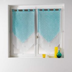 Tunis Pair Of Geometric Double Tassel Voile Blinds With  Tab Top - Mint Blue