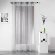 Tunis Geometric Eyelet Voile Curtain Panel - Silver Grey