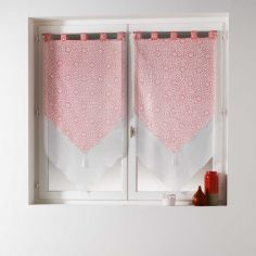 Tunis Pair Of Geometric Double Tassel Voile Blinds With  Tab Top - Coral Orange