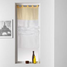 Tunis Geometric Voile Tie Up Blind With  Tab Top - Yellow