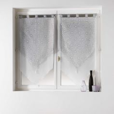 Tunis Pair Of Geometric Double Tassel Voile Blinds With  Tab Top - Silver Grey