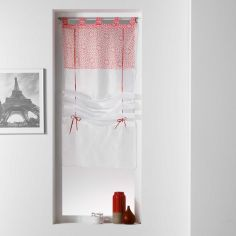 Tunis Geometric Voile Tie Up Blind With  Tab Top - Coral Orange