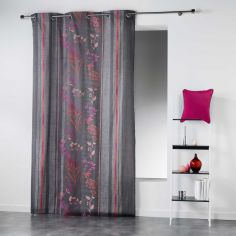 Ariana Striped Floral Ready Made Single Eyelet Curtain Panel  - Pink
