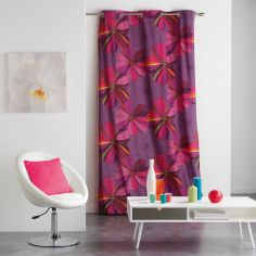 Barbane Floral Ready Made Single Eyelet Curtain Panel  - Pink
