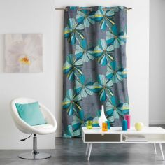 Barbane Floral Ready Made Single Eyelet Curtain Panel  - Blue