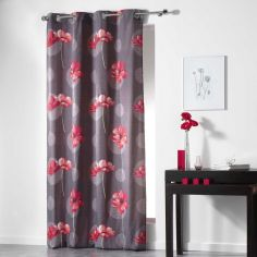 Poppies Floral Ready Made Single Eyelet Curtain Panel  - Red
