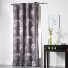 Poppies Floral Ready Made Single Eyelet Curtain Panel  - Silver Grey