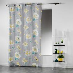 Cleo Garden Roses Floral Ready Made Single Eyelet Curtain Panel  - Lime Green