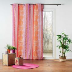 Jenya Striped Botanical Ready Made Single Eyelet Curtain Panel  - Pink & Orange