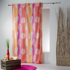 Lanka Striped Leaves Ready Made Single Eyelet Curtain Panel  - Pink & Orange