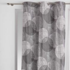 Lunea Geometric Circles Ready Made Single Eyelet Curtain Panel  - Silver Grey