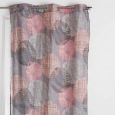Lunea Geometric Circles Ready Made Single Eyelet Curtain Panel  - Orange