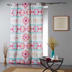 Maya Aztec Print Ready Made Single Eyelet Curtain Panel  - Beige Multi