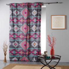 Maya Aztec Print Ready Made Single Eyelet Curtain Panel  - Charcoal Grey Multi