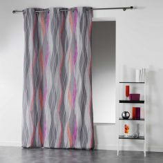 Ondulance Striped Waves Ready Made Single Eyelet Curtain Panel  - Pink