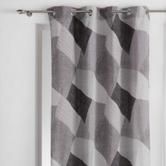 Puzzle Geometric Ready Made Single Eyelet Curtain Panel  - Charcoal Grey