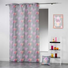 Pyramid Geometric Ready Made Single Eyelet Curtain Panel  - Pink & Orange