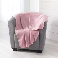 Pilou Plain Fleece Throw - Pink
